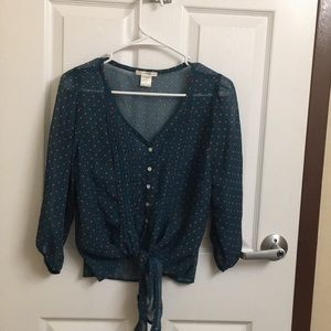 Sheer Vintage Tie up Buttoned Blouse